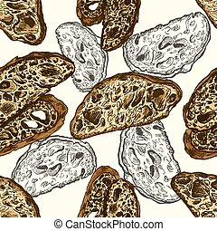 Bread slices full color seamless pattern, hand drawn vector...