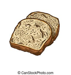 Toast bread, full color vector hand drawn illustration