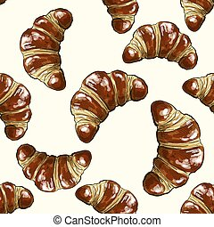 Croissant full color seamless pattern, hand drawn vector...
