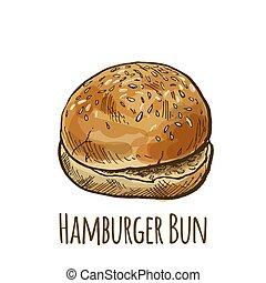 Home made hamburger bun, full color hand drawn vector...
