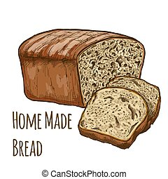 Home made bread full color - Home made bread, full color...
