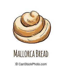 Mallorca bread, sweet bun, full color hand drawn vector...