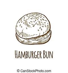 Home made hamburger bun, hand drawn vector illustration