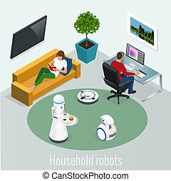 Isometric robots housework and technology concept. Woman with tablet and man with pc computer and robots at home