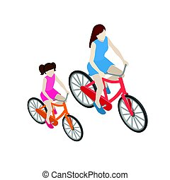 Mother and doughter cyclists riding on a bicycle. Flat 3d isometric vector illustration