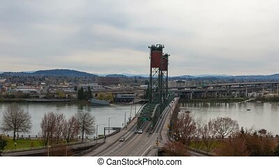 Time lapse of auto traffic on Hawthorne bridge Portland Or...