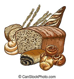 Bakery composition, full color hand drawn vector...