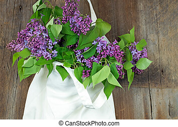 lilac bouquet in muslin sack - lilac bouquet in hanging...