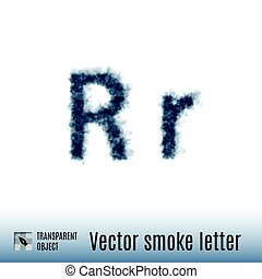 Smoke Letter - Smoke in Shape of the Letter R on White...