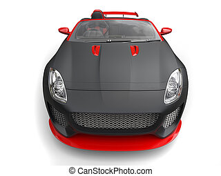 Awesome matte black super sports car with red details - front view