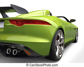 Metallic green luxury convertible sports car - taillight closeup shot