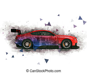 Modern sports race car - double exposure