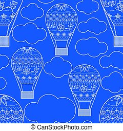 seamless pattern with air ballons vector
