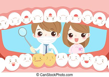 cartoon dentist with tooth - cute cartoon dentist with tooth...