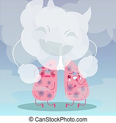 lung with health concept - cute cartoon lung with health...
