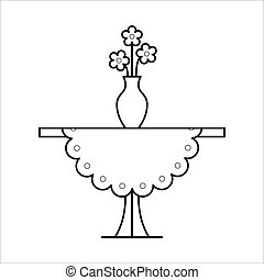 Small table home furniture lineart design, interior concept