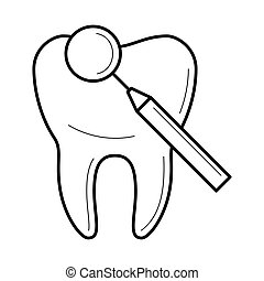 Tooth and dental mirror icon, vector illustration