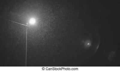 Falling down in real time snowflakes around streetlight at night, calm small snow, shot on black background, seamlessly looped animation, matte, isolated, perfect for digital composition