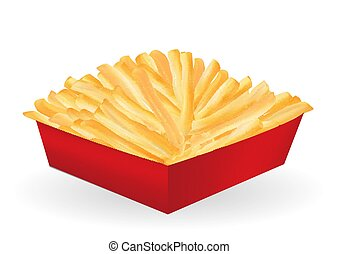 real french fries in a red paper box package