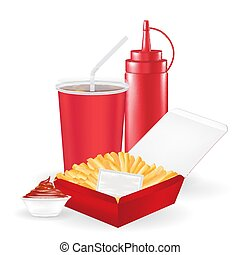 french fries with sauce bottle and drink