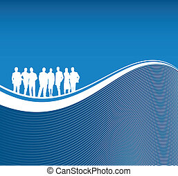 people on a abstract line background