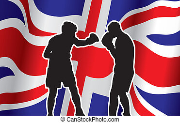 boxers - boxing infront on a british flag