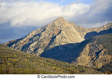 Rocky Mountains - View of the Rocky Mountains at dawn during...
