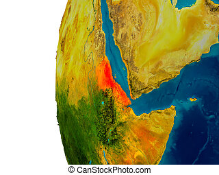 Eritrea on model of planet Earth - Eritrea highlighted in...