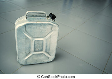 Close-up of gasoline canister