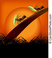 Vector illustration - Team Work Spirit, set of ants working...