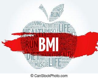 BMI - Body Mass Index, apple word cloud concept
