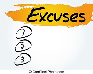 Excuses blank list, business concept