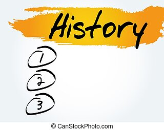 History blank list, business concept