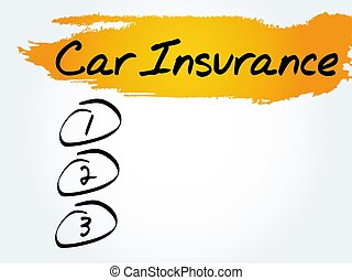 Car Insurance blank list, business concept