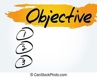 Objective blank list, business concept