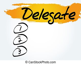 Delegate blank list, business concept
