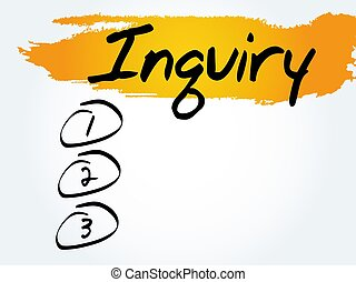 Inquiry blank list, business concept