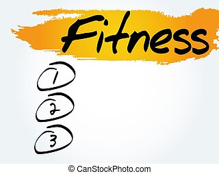 FITNESS blank list, fitness, sport, health concept