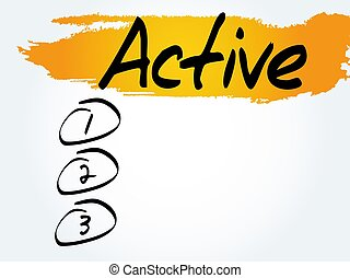 ACTIVE blank list, fitness, sport, health concept