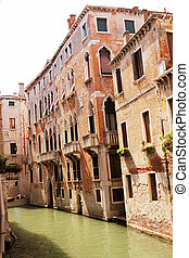 Canal in Venice, Italy. Exquisite buildings along Canals.
