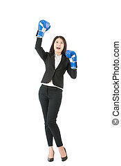 Business woman in boxing with victory pose - Business woman...