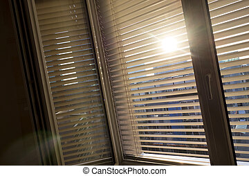 venetian blinds for shade at the window
