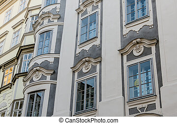 historic town house facades, a symbol of architecture, old...