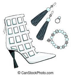 Womens shoes heels with earrings, bracelet and ring. -...