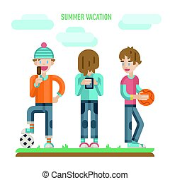 Illustration of group of happy teenagers having