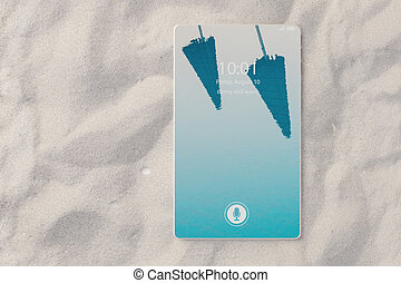 3D illustration of bezel-free smartphone lying in the sand on the beach as concept for online travel booking
