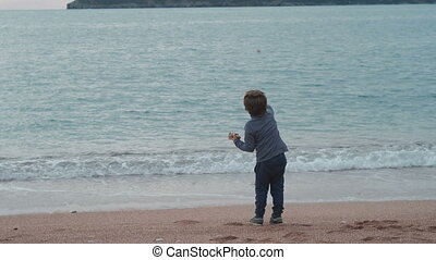 Small boy throw stones to sea. View from back. Toddler with...
