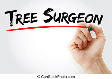 記號, 外科醫生, 手, 樹, 寫