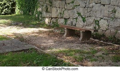 Bench in the park. Concrete bench with wooden Seats