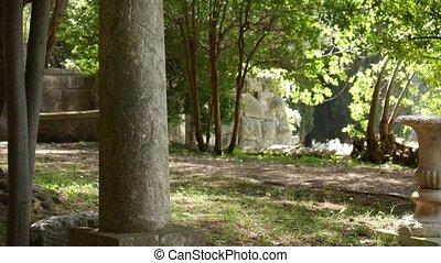 Ancient Greek columns. Territory Milocer Park, near Sveti...
